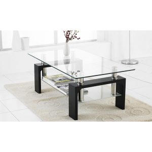 שולחן סלון זכוכית בשילוב עץ #08