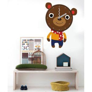 שעון קיר ומדבקה דגם Bear