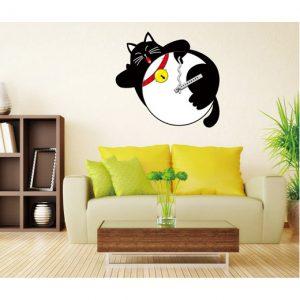 FAT CAT שעון קיר ומדבקה