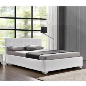 מיטה זוגית LORRY מעוצבת בריפוד דמוי עור עם ארגז מצעים מעץ למזרן 140*190 ס''מ