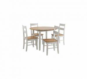 פינת אוכל עגול GINZA שולחן וארבע כסאות מעץ מלא