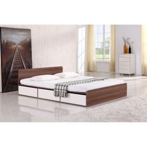 מיטה זוגית עם ארגז מצעים ומגירות NOLTE