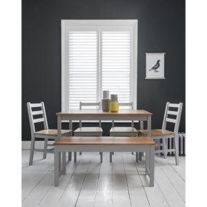 פינת אוכל שולחן 4 כסאות וספסל Hatton Full Set