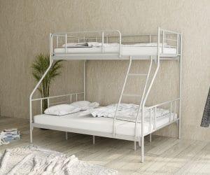 מיטת קומותיים NOVA ממתכת כוללת מיטה זוגית ומיטת יחיד