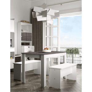 NICE פינת אוכל כוללת שולחן וספסלים לבן עם בטון מבית ברדקס