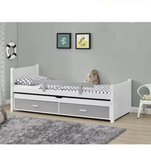 מיטת ילדים LIOR מעץ מלא עם מיטת חבר נשלפת ומגירות אחסון כולל מזרנים