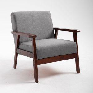 GALIFE כורסא מעוצבת מבד עם ידיות מעץ מלא