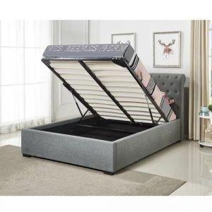 מיטה זוגית KIM מעוצבת בריפוד בד עם ארגז מצעים מעץ למזרן 160*200 ס''מ
