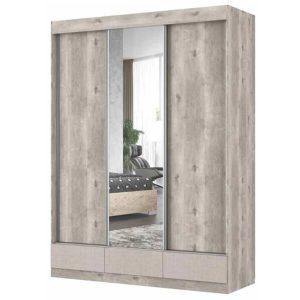ארון הזזה CARMEL עם דלת מראה רוחב 180 ס''מ ומגירות