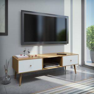 ROMA מזנון טלוויזיה אלון עם דלתות לבנות