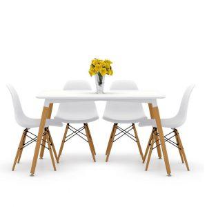 פינת אוכל CASTA כוללת שולחן מלבני ו4 כסאות במגוון צבעים