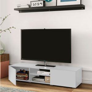 Podium_מזנון טלוויזיה עם שתי דלתות לבן מבית ברדקס
