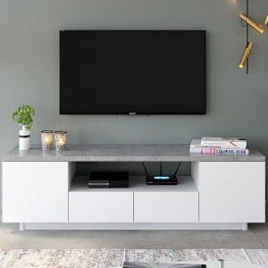 MADRID מזנון טלוויזיה בטון משולב לבן