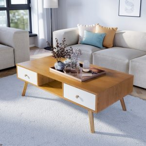 NAPOLI שולחן סלון אלון משולב לבן