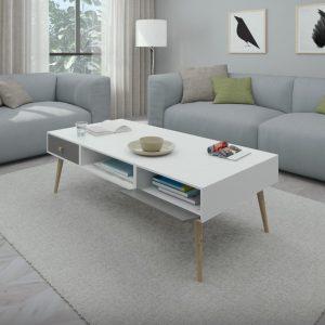 NAPOLI שולחן סלון לבן עם שתי מגירות לבנות ושתי מגירות אפורות