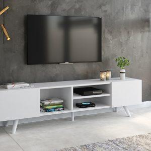 FLORIDA מזנון טלוויזיה ארוך צבע לבן