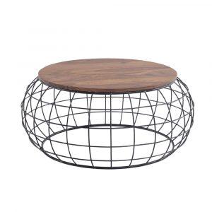 שולחן סלון CHARLOTTE עגול מעץ מלא משולב ברזל