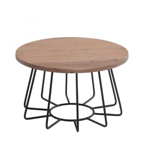 שולחן סלון HAWAII עגול מעץ מלא משולב ברזל