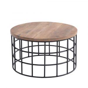 שולחן סלון MIAMI עגול מעץ מלא משולב ברזל