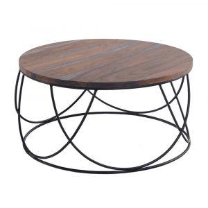 שולחן סלון TOLEDO עגול מעץ מלא משולב ברזל