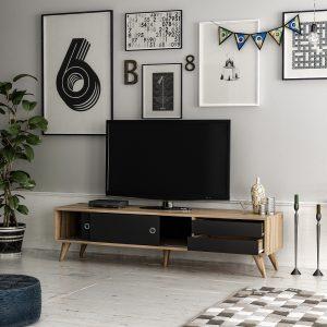 AMOR מזנון טלוויזיה 160 אגוז משולב שחור