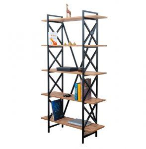 כוננית מדפים EREBUS מעוצבת 5 קומות עשויה מתכת בשילוב עץ