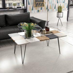 שולחן סלון LEAF בעיצוב פסיפס ייחודי עם רגלי ברזל יצוק