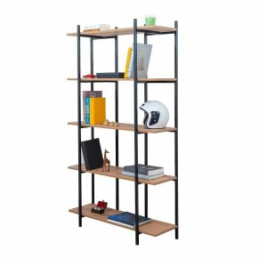 ספריית מדפים GAUDI כוננית 5 קומות עשויה מתכת בשילוב עץ