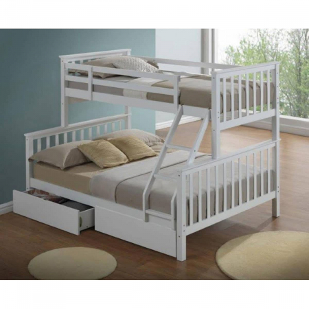 Tailer מיטת קומותיים מעץ מלא עם שני מזרונים כולל מגירות איחסון מבית ברדקס