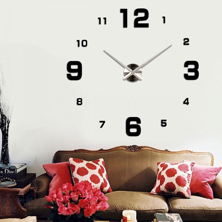 שעון קיר תלת מימדי 12S005_black