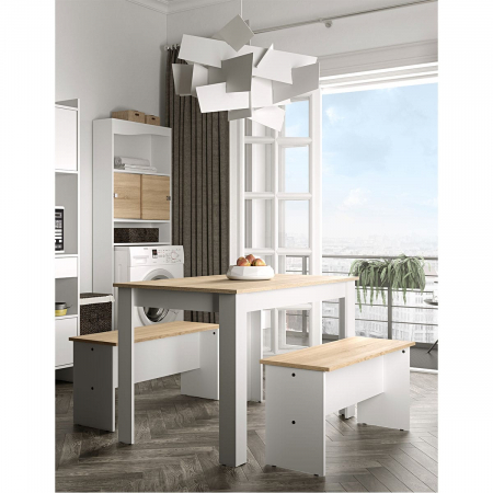 NICE פינת אוכל כוללת שולחן וספסלים לבן ואלון