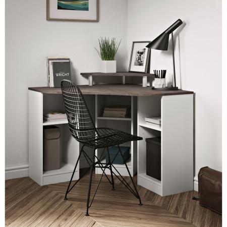 Corner_Desk_שולחן עבודה פינתי עם תאים איחסון לבן עם בטון מבית ברדקס