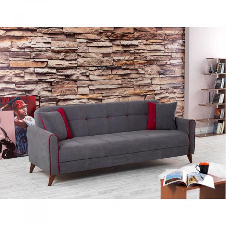 VIOLA ספה תלת מושבית נפתחת למיטה עם ארגז מצעים אפור מבית ברדקס