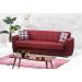 FAMUS ספה תלת מושבית נפתחת למיטה עם ארגז מצעים צבע בורדו